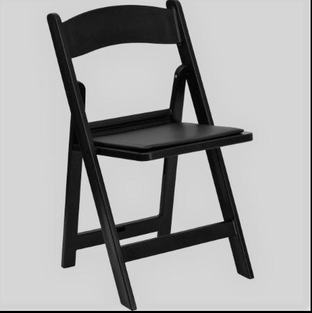 Black wooden folding chairs