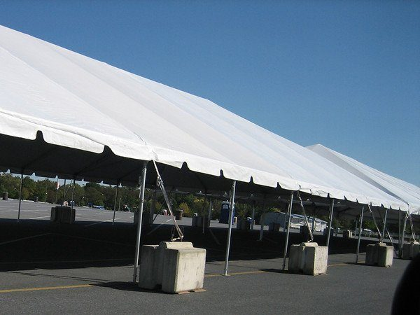 Partial Grass and Partial Tent Concrete Blocks - 30 x 150 Tent